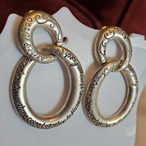 """1.5"""" Silver Tone Bible Verse Dangle Stud Earrings"""